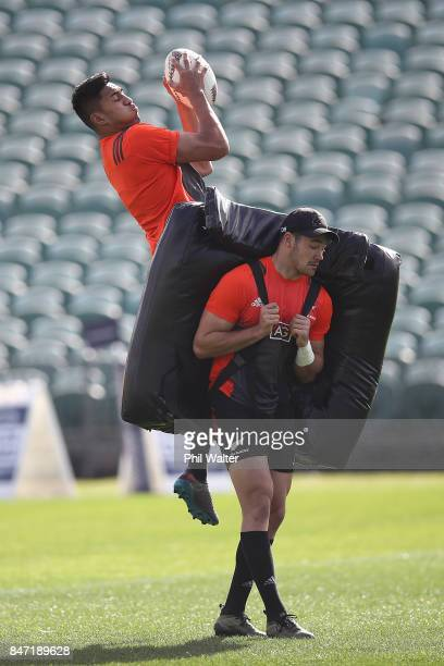 Reiko Ioane of the All Blacks gets under the high ball during a New Zealand All Blacks Captain's Run at QBE Stadium on September 15 2017 in Auckland...