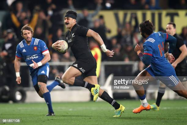 Reiko Ioane of the All Blacks runs in for a try during the International Test match between the New Zealand All Blacks and France at Forsyth Barr...