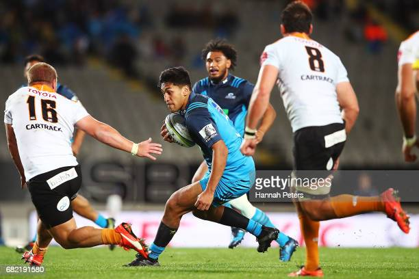 Reiko Ioane of the Blues makes a break out during the round 12 Super Rugby match between the Blues and the Cheetahs at Eden Park on May 12 2017 in...