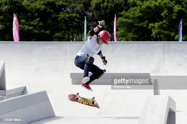 Reiko Otsuka competes in the Women's Street event during the Skateboarding Olympic Test Event at the Ariake Urban Sports Park on May 14, 2021 in...