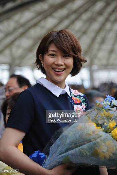 Reiko Shiota former badminton player and wife of Tatsuya Masushima of Vegalta Sendai looks on prior to the JLeague J1 match between Vegalta Sendai...