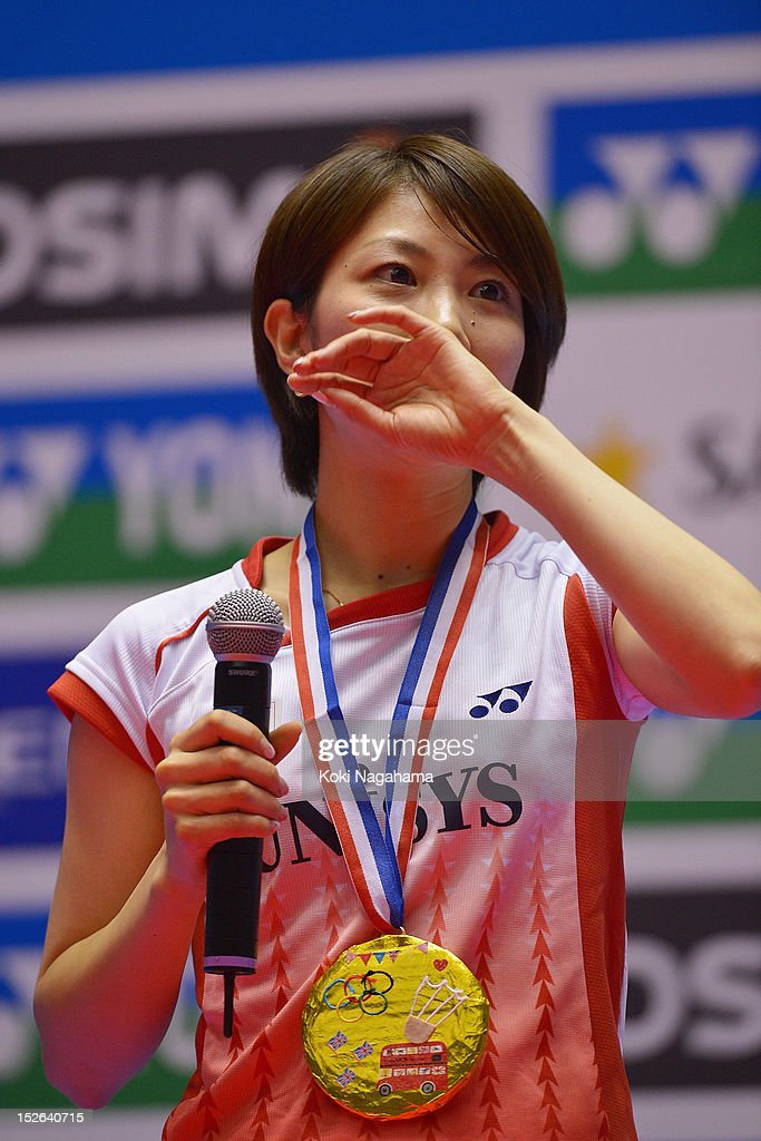 Reiko Shiota of Japan cries during her retiremennt ceremony on day five of the Yonex Open Japan 2012 at Yoyogi Gymnasium on September 23, 2012 in Tokyo, Japan.
