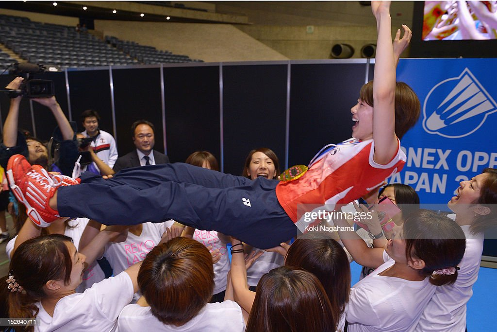 Reiko Shiota of Japan is tossed to the air during her retiremennt ceremony on day five of the Yonex Open Japan 2012 at Yoyogi Gymnasium on September 23, 2012 in Tokyo, Japan.