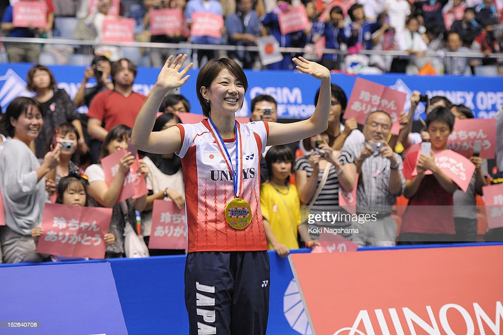 Reiko Shiota of Japan waves to the crowd during her retiremennt ceremony on day five of the Yonex Open Japan 2012 at Yoyogi Gymnasium on September 23, 2012 in Tokyo, Japan.