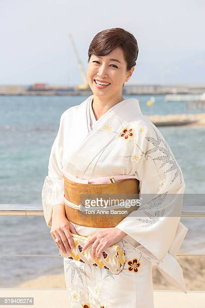 Reiko Takashima attends 'Moribito Guardian Of The Spirit'photocall as part of MIPTV 2016 on April 5 2016 in Cannes France