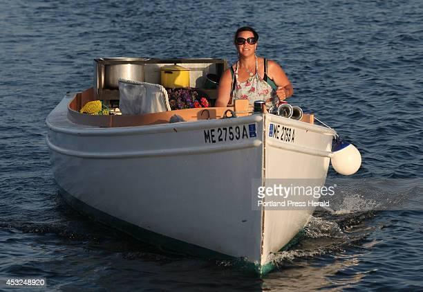 Reilly Harvey run her boat Mainstay around the harbor between Dix Island and High Island Saturday, July 26, 2014. Harvey runs Mainstay Provisions,...