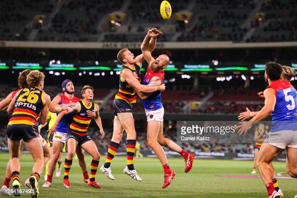 Reilly O'Brien of the Crows and Max Gawn of the Demons compete for the ball during the round 10 AFL match between the Adelaide Crows and the...