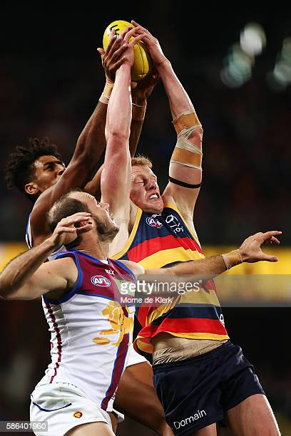 Reilly O'Brien of the Crows takes a mark during the round 20 AFL match between the Adelaide Crows and the Brisbane Lions at Adelaide Oval on August 6...