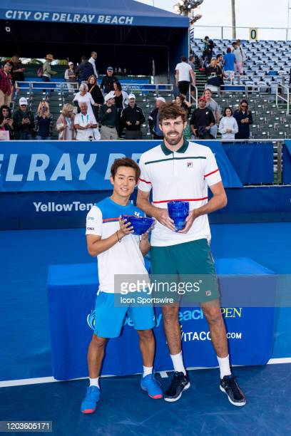 Reilly Opelka during the trophy presentation of the Finals of the ATP Delray Beach Open on February 23 at the Delray Beach Stadium & Tennis Center in...