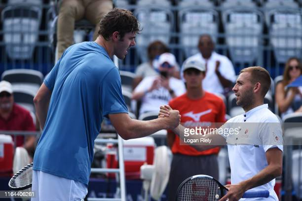 Reilly Opelka of the United States celebrates after defeating Daniel Evans of Great Britain during the BBT Atlanta Open at Atlantic Station on July...