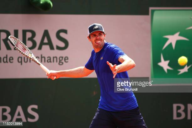 Reilly Opelka of The United States plays a forehand during his mens singles first round match against Cristian Garin of Chile during Day two of the...