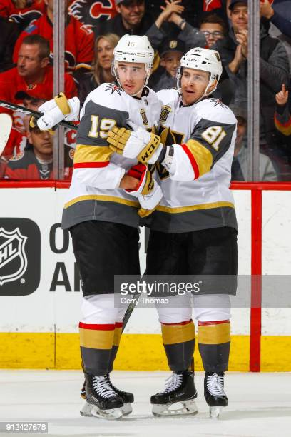 Reilly Smith and Jonathan Marchessault of the Vegas Golden Knights celebrate in an NHL game on January 30 2018 at the Scotiabank Saddledome in...