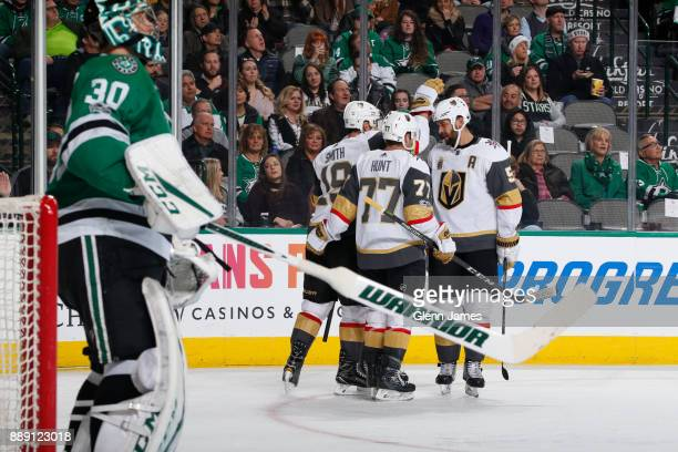 Reilly Smith Brad Hunt Derryk Engelland and the Vegas Golden Knights celebrate a goal against the Dallas Stars at the American Airlines Center on...