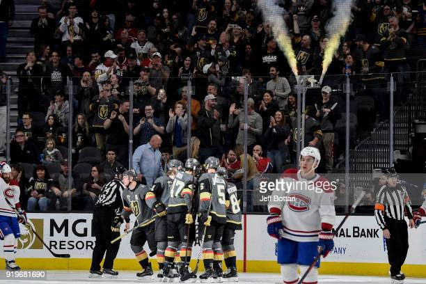 Reilly Smith celebrates his goal with Luca Sbisa William Karlsson Deryk Engelland and Jonathan Marchessault of the Vegas Golden Knights during the...