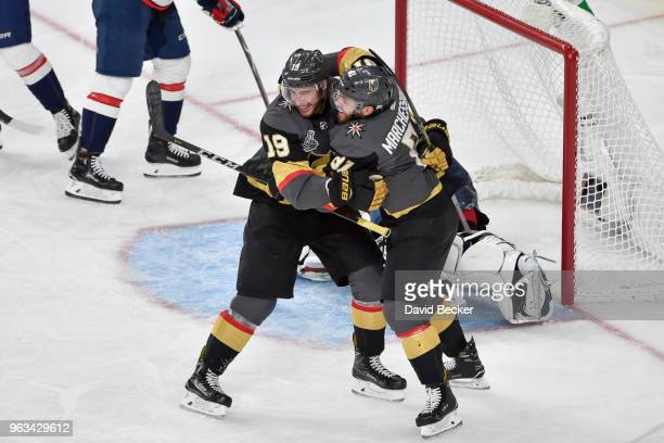 Reilly Smith celebrates his goal with teammate Jonathan Marchessault of the Vegas Golden Knights against the Washington Capitals in Game One of the...