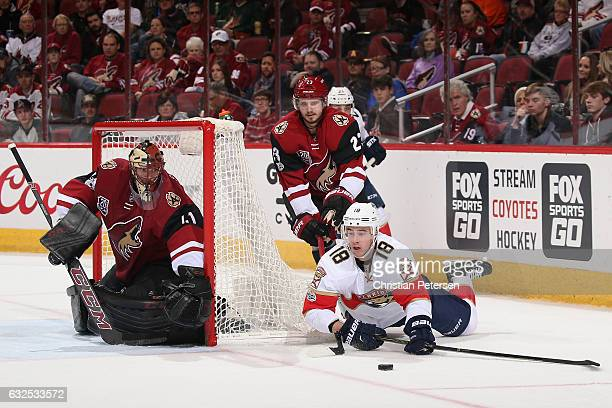 Reilly Smith of the Florida Panthers attempts to center the puck ahead of goaltender Mike Smith and Oliver EkmanLarsson of the Arizona Coyotes during...