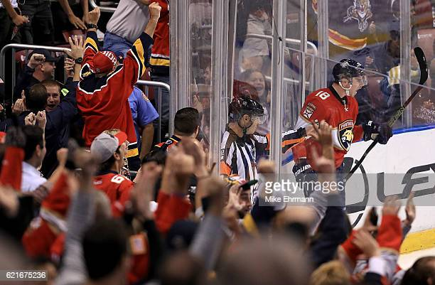 Reilly Smith of the Florida Panthers celebrates scoring the game winning goal during a game against the Tampa Bay Lightning at BBT Center on November...