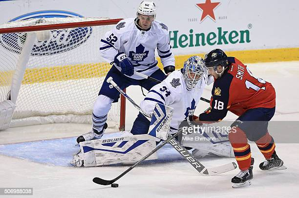 Reilly Smith of the Florida Panthers scores a goal on James Reimer of the Toronto Maple Leafs during a game at BBT Center on January 26 2016 in...