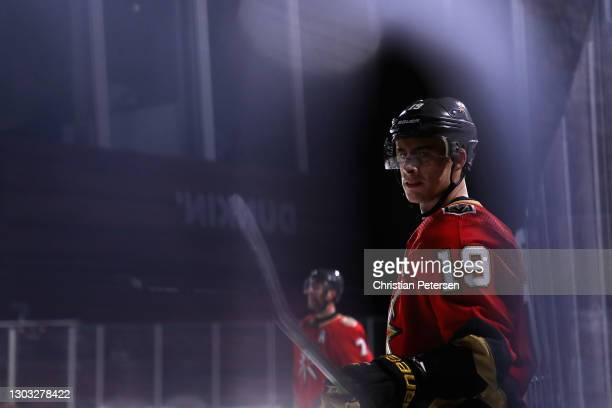 Reilly Smith of the Vegas Golden Knights awaits a face off during the second period of the 'NHL Outdoors At Lake Tahoe' against the Colorado...