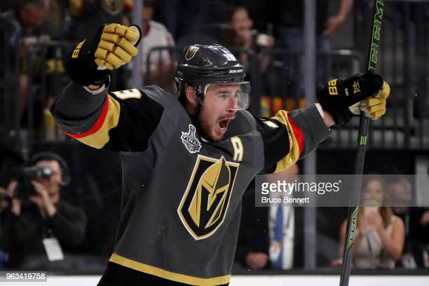 Reilly Smith of the Vegas Golden Knights celebrates his secondperiod goal against the Washington Capitals in Game One of the 2018 NHL Stanley Cup...