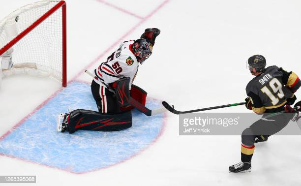 Reilly Smith of the Vegas Golden Knights scores a goal against Corey Crawford of the Chicago Blackhawks during the third period in Game One of the...