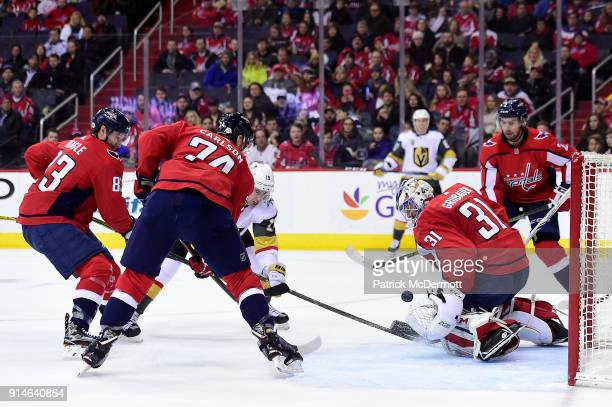 Reilly Smith of the Vegas Golden Knights scores a goal against Philipp Grubauer of the Washington Capitals in the second period at Capital One Arena...