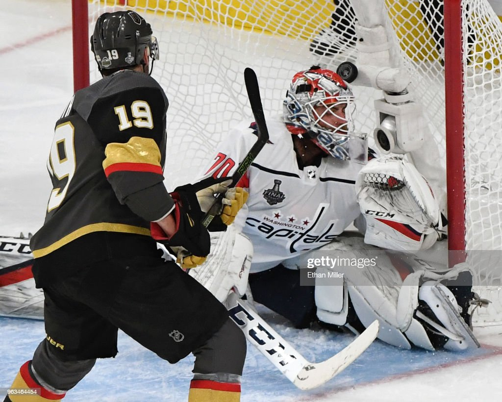 Reilly Smith #19 of the Vegas Golden Knights scores a second-period goal against Braden Holtby #70 of the Washington Capitals during Game One of the 2018 NHL Stanley Cup Final at T-Mobile Arena on May 28, 2018 in Las Vegas, Nevada. The Golden Knights defeated the Capitals 6-4.