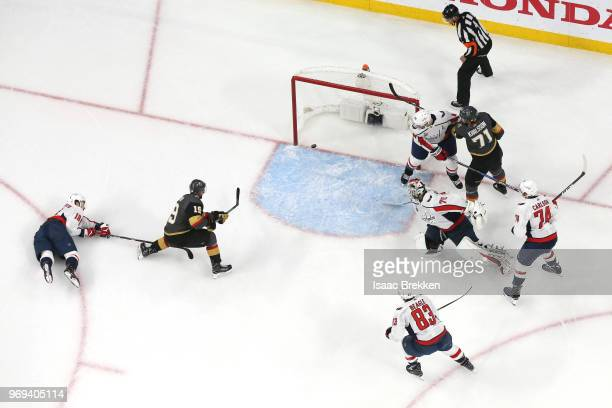Reilly Smith of the Vegas Golden Knights scores a secondperiod goal past Braden Holtby of the Washington Capitals in Game Five of the 2018 NHL...