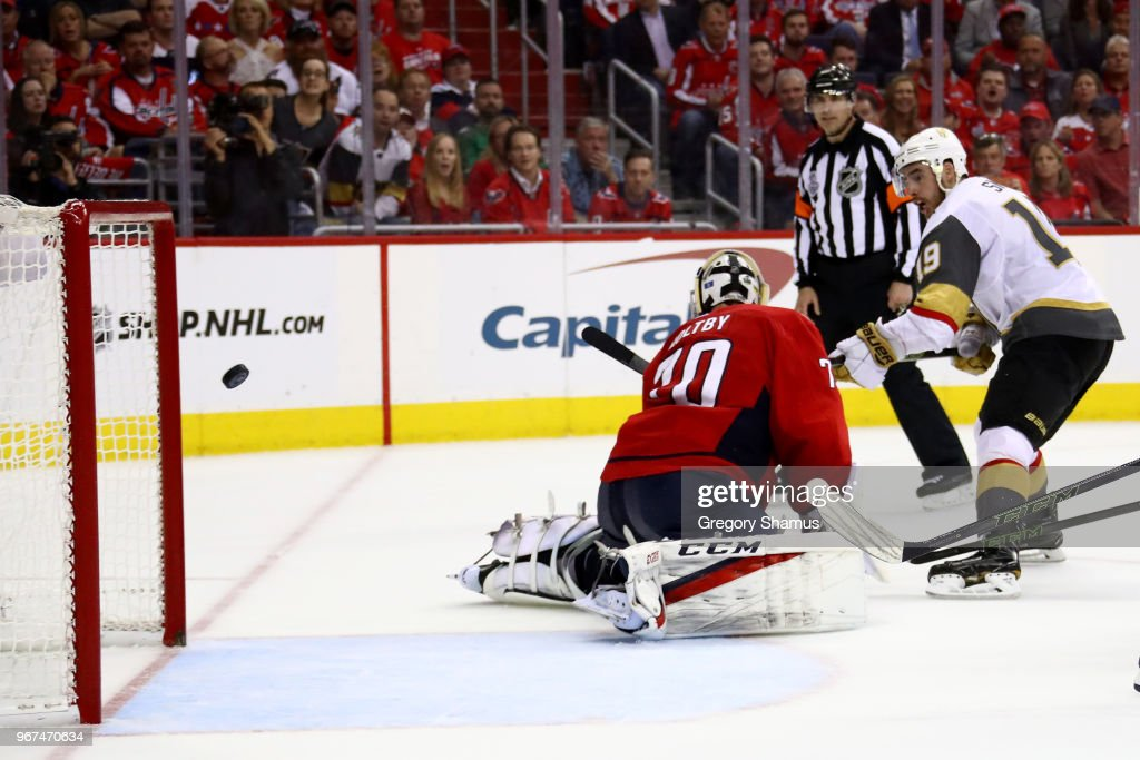 Reilly Smith #19 of the Vegas Golden Knights scores a third-period goal past Braden Holtby #70 of the Washington Capitals in Game Four of the 2018 NHL Stanley Cup Final at Capital One Arena on June 4, 2018 in Washington, DC.