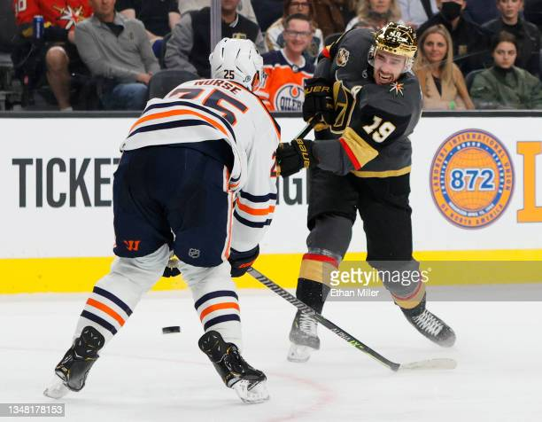 Reilly Smith of the Vegas Golden Knights shoots against Darnell Nurse of the Edmonton Oilers in the second period of their game at T-Mobile Arena on...