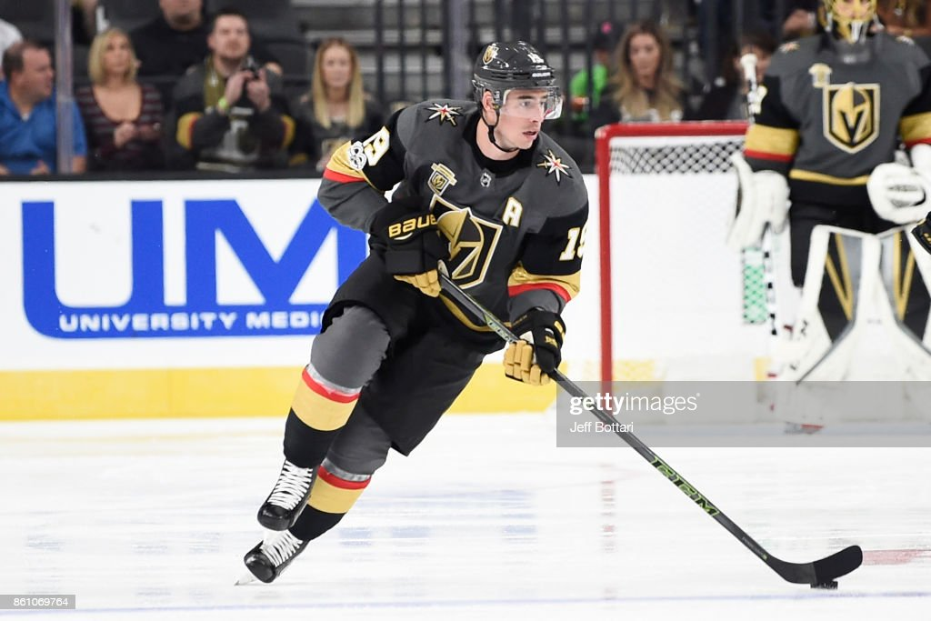 Reilly Smith #19 of the Vegas Golden Knights skates with the puck against the Detroit Red Wings during the game at T-Mobile Arena on October 13, 2017 in Las Vegas, Nevada.