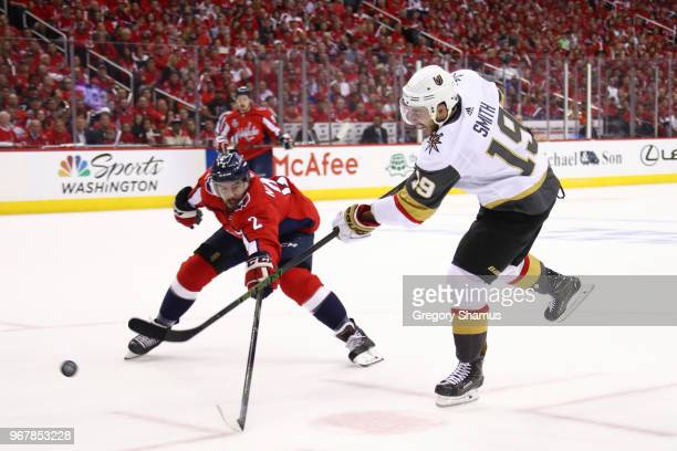Reilly Smith of the Vegas Golden Knights takes a shot defended by Matt Niskanen of the Washington Capitals during the first period in Game Four of...