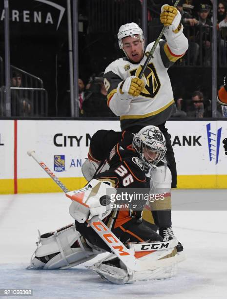 Reilly Smith of the Vegas Golden Knights tries to deflect the puck into the net against John Gibson of the Anaheim Ducks in the second period of...