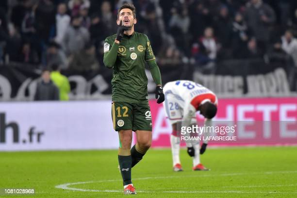 Reims' Argentinian forward Pablo Chavarria celebrates after scoring a goal during the French L1 football match between Lyon and Reims on January 11...