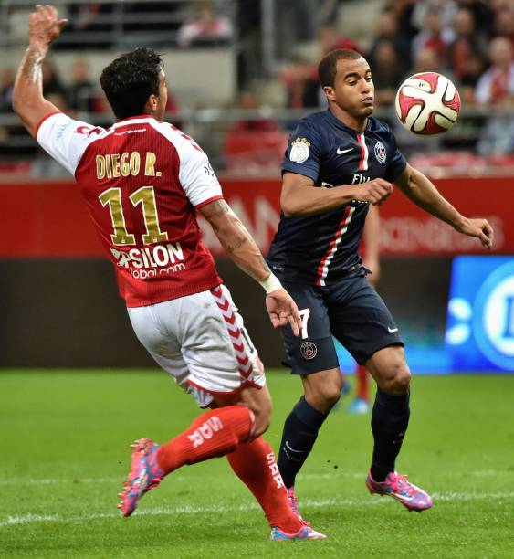 Lucas Moura Of Psg In Action During The Ligue 1 Match: Stade De Reims V Paris Saint-Germain FC