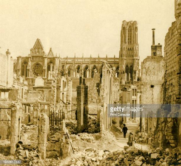 Reims Cathedral Reims northern France circa 1914circa 1918 Photograph from a series of glass plate stereoview images depicting scenes from World War...