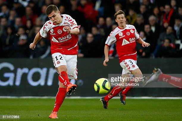 Reims' French forward Nicolas De Preville kicks the ball during the French L1 football match between Paris SaintGermain and Reims at the Parc des...