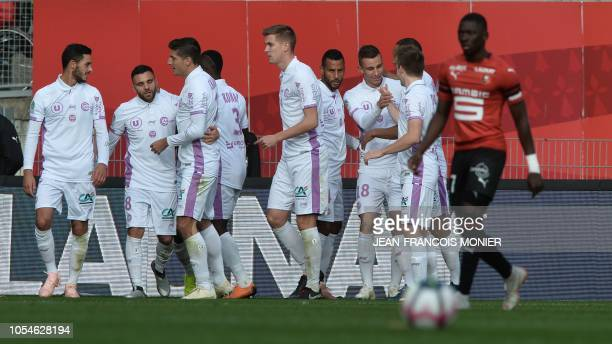 Reims players jubilate after the second goal during the French L1 Football match between Rennes and Reims on October 28 at the Roazhon Park in Rennes...