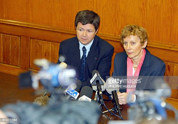 Reims' prosecutor Yves Charpenel and Liege's King prosecutor Josseline Bodson give a press conference on French serial killer Michel Fourniret 15...