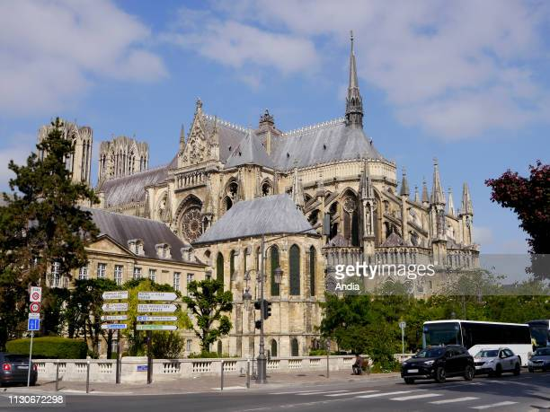 Reims Reims Cathedral registered as a UNESCO World Heritage Site and blue sky in the background