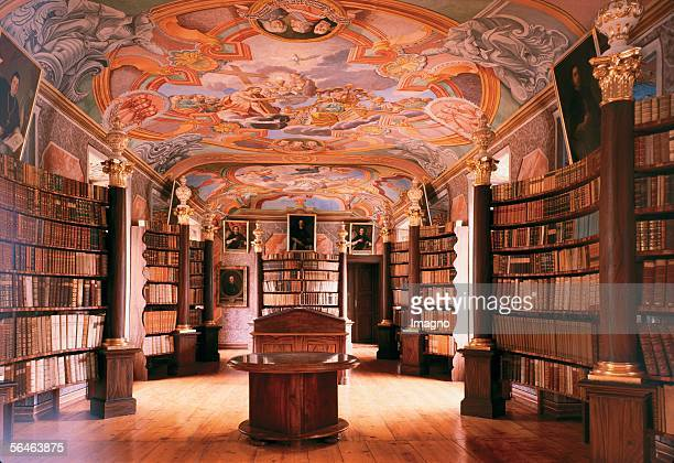 Rein near Graz Styria Cistercian Monastery Monastery library with frescos by J Amonte Middle panel Christ lifting the veil from Moses' face On the...