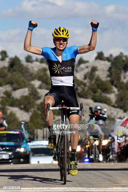 Rein Taaramae of Estonia and Cofidis celebrates after he crosses the finish line to win the 3rd stage of the 50th Presidential Cycling Tour a 185 km...