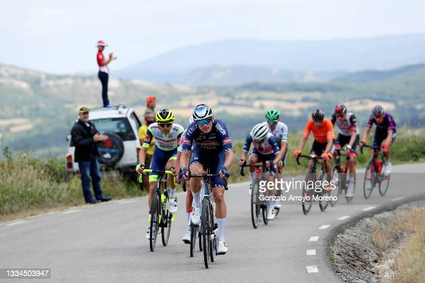 Rein Taaramäe of Estonia and Team Intermarché - Wanty - Gobert Matériaux and Tobias Bayer of Austria and Team Alpecin-Fenix attack in the breakaway...