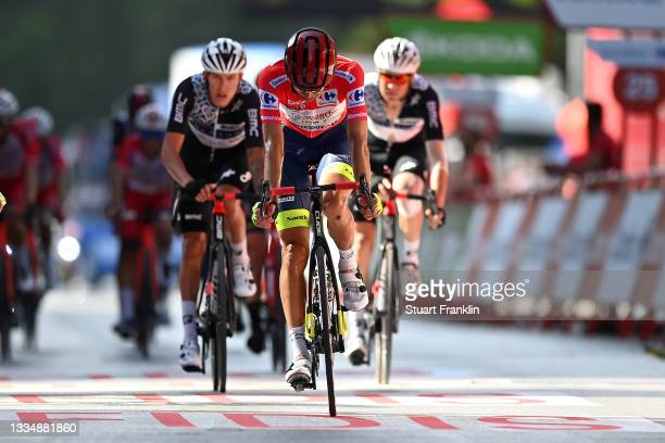 Rein Taaramäe of Estonia and Team Intermarché - Wanty - Gobert Matériaux Red Leader Jersey crosses the finishing line during the 76th Tour of Spain...