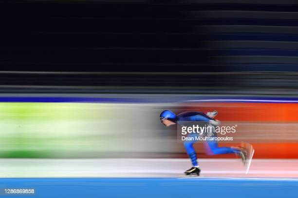 Reina Anema from Gorredijk competes in the Womens 3000m race during the Daikin NK Allround or Dutch All-round Speedskating Championships at Thialf on...