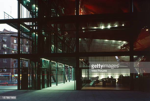 Reina Sofia Museum, Madrid, Spain, Architect Jean Nouvel Reina Sofia Museum Evening Shot Of The Bar And The Entrance To The Plaza.