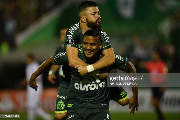 Reinaldo of Brazil's Chapecoense celebrates his goal against Uruguay's Nacional during their 2017 Copa Libertadores football match held at Arena...