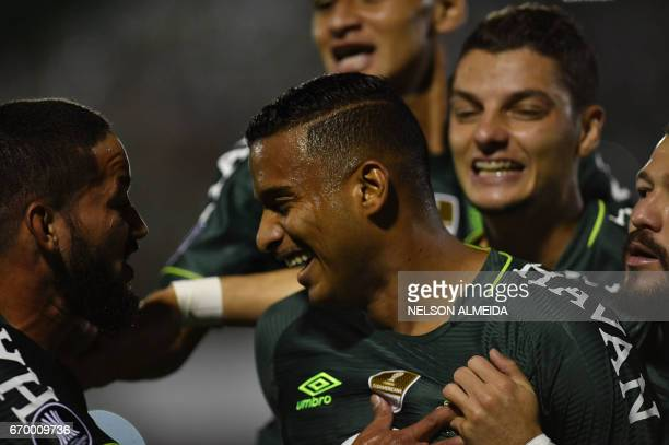 Reinaldo of Brazil's Chapecoense celebrates with teammates after scoring against Uruguay's Nacional during their 2017 Copa Libertadores football...