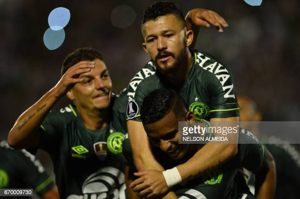 Reinaldo of Brazil's Chapecoense celebrates with teammates his goal against Uruguay's Nacional during their 2017 Copa Libertadores football match...