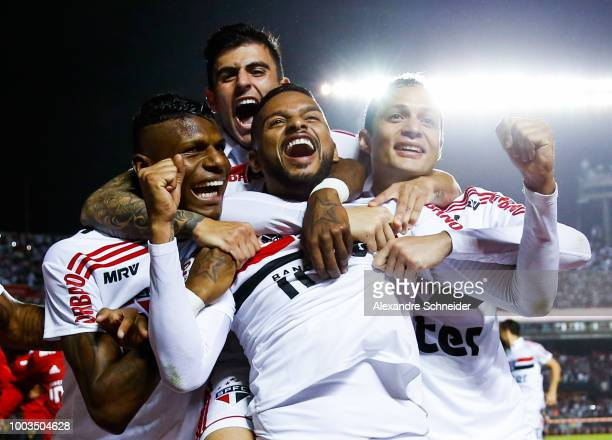 Militao and Reinaldo celebrate the third goal of Sao Paulo during the match between Sao Paulo and Corinthians for the Brasileirao Series A 2018 at...